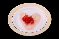 Jam as heart on a plate Stock Photography