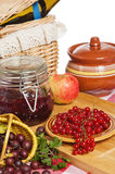 Jam with berries of red currant and gooseberry Royalty Free Stock Photos