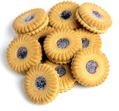 Jam Biscuits in a pile Royalty Free Stock Photos