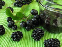 Jam with black chokeberry and blackberry Royalty Free Stock Images