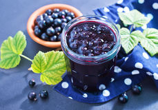 Jam from black currant Royalty Free Stock Photography