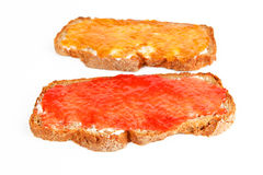 Jam bread. Two breads with apricot and strawberry jam Stock Photography