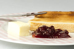 Jam, butter and toast. Stock Photo