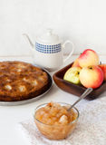 Jam and cake with apples. Apple jam with biscuits and tea Royalty Free Stock Image