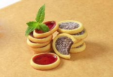 Jam  and chocolate filled tartlets Royalty Free Stock Image