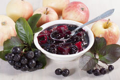 Jam chokeberry and apples Royalty Free Stock Image