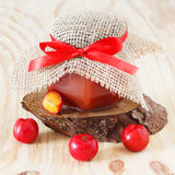 Jam, confiture of Malpighia glabra (red acerola) in jar with fre Royalty Free Stock Photo