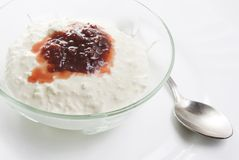 Jam with cottage cheese over white Stock Image