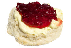 Jam and cream scone. Royalty Free Stock Photos