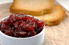 Jam and crisp toast Royalty Free Stock Images