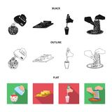 , jam, diet, accessories and other web icon in black,flat,outline style.cook, equipment, appliance, icons in set. Jam, diet, accessories and other  icon in Royalty Free Stock Photography