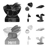 , jam, diet, accessories and other web icon in black,monochrom style.cook, equipment, appliance, icons in set collection. Jam, diet, accessories and other Royalty Free Stock Photography