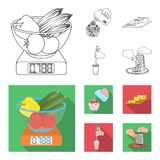 , jam, diet, accessories and other web icon in outline,flat style.cook, equipment, appliance, icons in set collection. Jam, diet, accessories and other  icon Royalty Free Stock Images