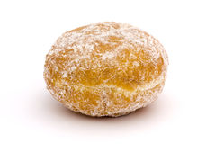 Jam doughnut over white Royalty Free Stock Images