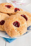 Jam Drops. Or Jam cushions an old fashioned tea time biscuit with a blob of jam in the middle Royalty Free Stock Photos