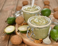 Jam of feijoa and walnuts Royalty Free Stock Photo