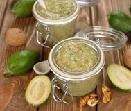 Jam of feijoa and walnuts Royalty Free Stock Images