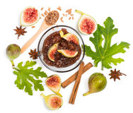 Jam of fig, top view. Royalty Free Stock Photo