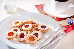 Jam-filled christmas biscuits. Homemade christmas biscuits filled with jam Royalty Free Stock Photography
