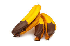 Jam filled cookies with chocolate in the shape of a banana Stock Image