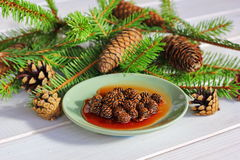 Jam from fir cones. Jam small fir cones with syrup put on a small green saucer dish decorated with pine branches, christmas trees, fir trees and various big wigs Royalty Free Stock Images