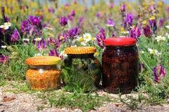 Jam and flower pollen. Jam from cones. Tarragon. Flower pollen Stock Photos