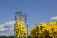 Jam from the flowers of dandelions stock images