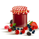 Jam with fresh berries Royalty Free Stock Images