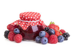 Jam and fresh berries Stock Photography