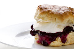 Jam and fresh cream scone Royalty Free Stock Photos