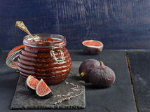 Jam from fresh figs. With lavender seeds Stock Photos