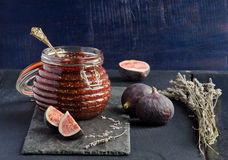 Jam from fresh figs. With lavender seeds Royalty Free Stock Image