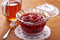 Jam with fresh fruits of cornel Royalty Free Stock Images
