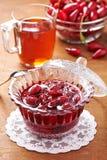 Jam with fresh fruits of cornel Stock Image