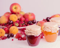 Jam, fruit and berries Stock Images