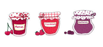 Jam fruits. Three jam jars and fruits. Ink and digital colors Stock Images