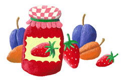 Jam and fruits Royalty Free Stock Image