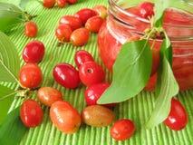 Jam with fruits of cornel Stock Photo