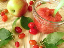 Jam with fruits of cornel and apples Stock Images