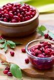 Jam with fruits of cornel Stock Photos