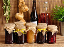 Jam in the glass jars concept Royalty Free Stock Photos
