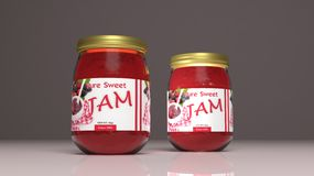 Jam glass jars. 3d illustration Royalty Free Stock Photo