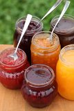 Jam. Glass with strawberry, cherry, orange, plum, blackcurrant and peach jam and spoons stock photography