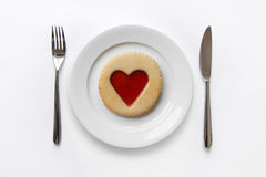 Jam heart cookie. Valentine's day place setting with cookie and jam heart Royalty Free Stock Photos