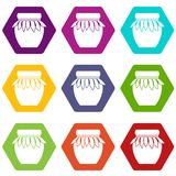 Jam in het pictogram vastgestelde kleur van de glaskruik hexahedron Stock Afbeeldingen