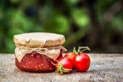 Jam of homemade organic tomatoes. Jam from tomatoes. Tomato sauce royalty free stock image