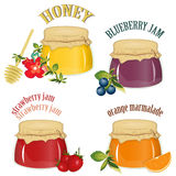 Jam and honey isolated on white background Royalty Free Stock Image