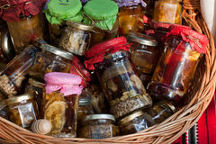 Jam and honey jars Stock Photos