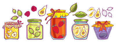 Jam icons(0).jpg. Jars of jam from different fruits and berries. Icons Stock Photos