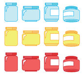 Jam-jar. Four jars, made in three colors Royalty Free Stock Photo